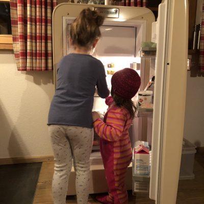 Die Kids räumen den Kühlschrank ein